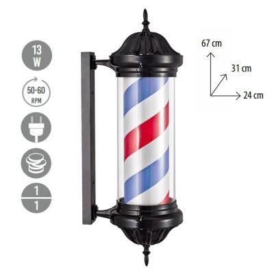 Eurostil Black Barber Pole 04578