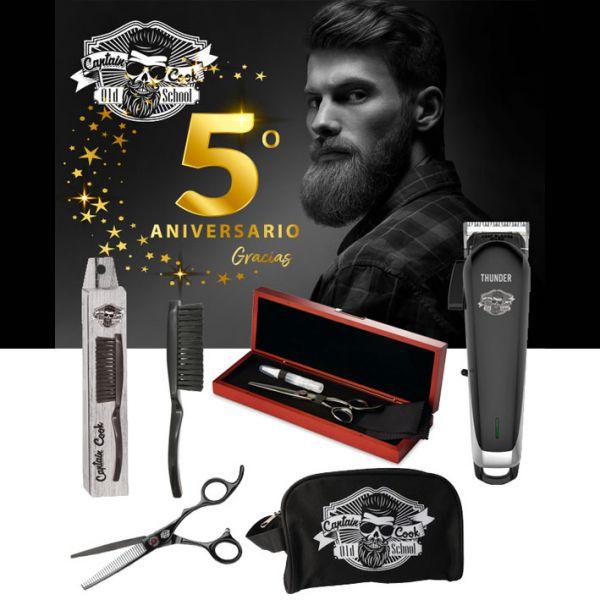 """Eusrostil Barber Set(Thunder Clipper, FadeBrush, Captain Cook Toilet bag, Black ripper carving scissors 6"""")"""
